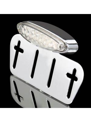 [255-967] LED-Mini-bakljus transparent, med regskyltshållare, förkromad
