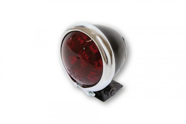 [255-134] LED-bakljus BATES STYLE, svart hus m. kromram, rött glas