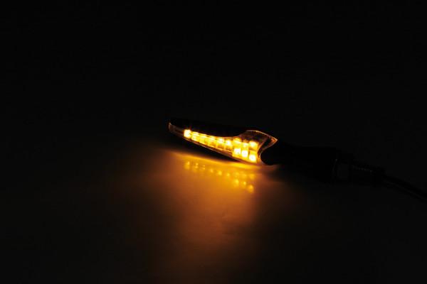 [203-029] LED sekvens-blinkers WIPE, svart, tonat glas
