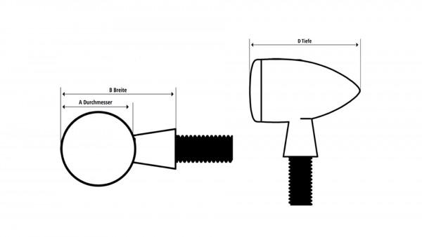 [204-080] HI-Power LED-blinkers MC 1, alu, svart, klart glas