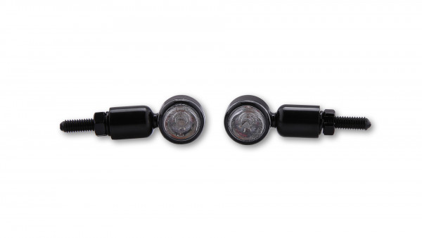 [204-080] HI-Power LED-blinkers MC 1, alu, svart, klart glas