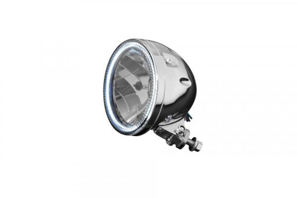 [HH68-0351] H4 Hauptscheinwerfer med LED-Ring, krom, Ø 145 mm (5 3/4 tum)