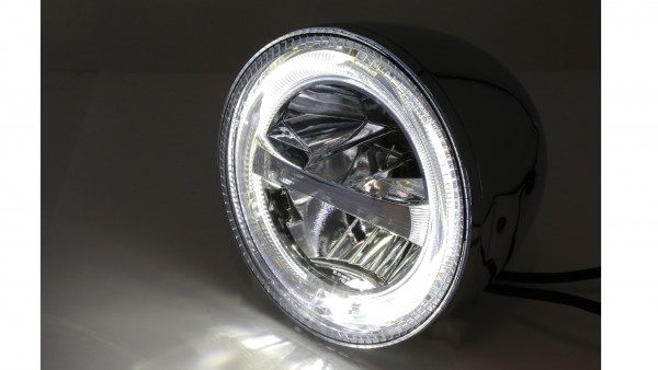 [223-047] HIGHSIDER 5 3/4 inch LED headlight CIRCLE, chrome