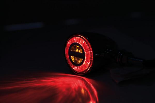 [254-347] ROCKET BULLET LED bak-/bromsljus/blinkers-kombination krom