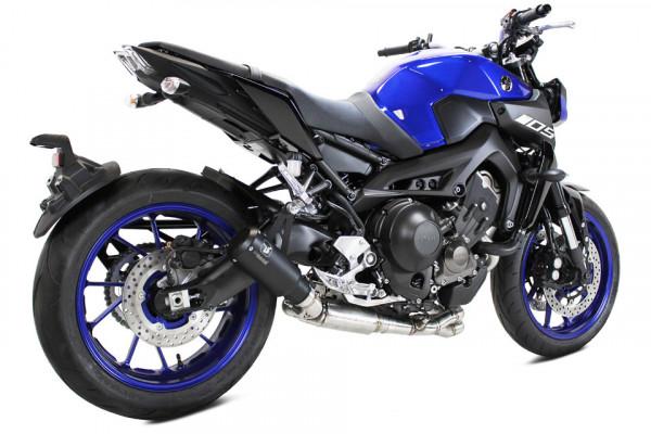 [064-980B] MK2 rostfri helsystem, svart, Yamaha MT-09, XSR 900, 16-