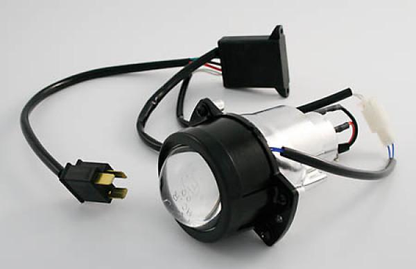 [223-390] Ellipsoidstrålkastare 50 mm med Blende för hel- och halvljus, H1